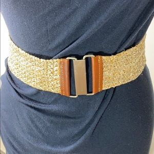 CAbi Gold Fabric and Leather Stretchy Belt.